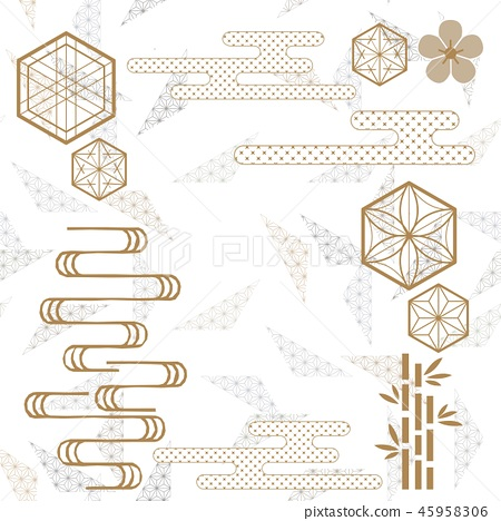 Gold geometric template with Japanese pattern 45958306