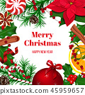 Christmas frame decoration of holly, winterberry 45959657