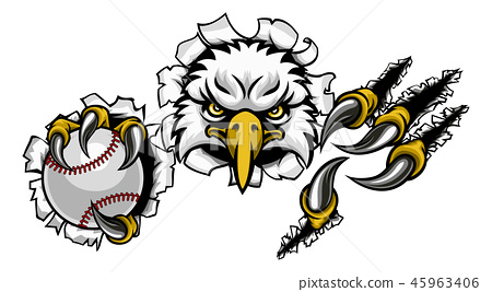 Eagle Baseball Cartoon Mascot Tearing Background 45963406