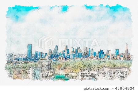 View of the Shinjuku skyline in Tokyo, Japan 45964904