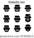 Mustache icons set in flat style 45966815