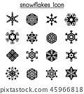 Snowflakes icon set in flat style 45966818