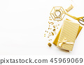 Flat Lay on White Background with Golden Deco 45969069