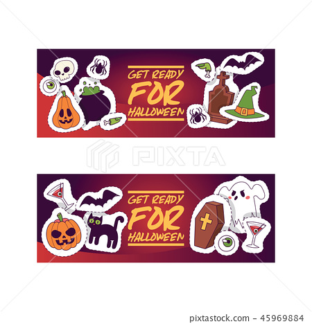 Halloween kids costume trick or treat party costumes vector characters. Little child people 45969884