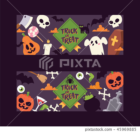 Halloween kids costume trick or treat party costumes vector characters. Little child people 45969885