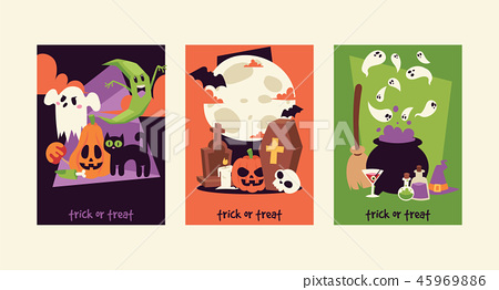 Halloween kids costume trick or treat party costumes vector characters. Little child people 45969886