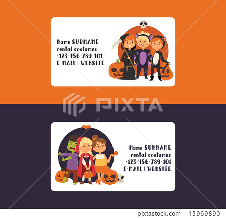 Halloween kids costume trick or treat party costumes vector characters. Little child people 45969890