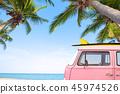 car with surf on the tropical beach 45974526