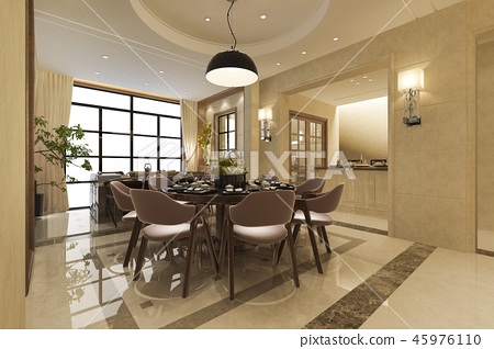 modern dining room and living room 45976110