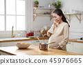 여자, 임산부, 부엌 45976665