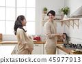 여자, 임산부, 부엌 45977913