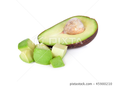 haft and portion cut ripe avocado on white 45980210