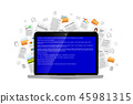Opened laptop with critical BSOD error message 45981315