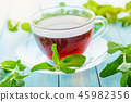 cup of black tea with fresh mint 45982356