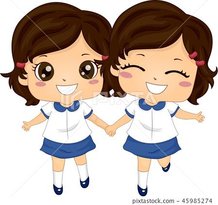 Kids Twin Girls Sisters School Uniform 45985274
