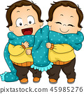 Kids Toddler Twin Scarf Share Illustration 45985276