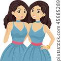 青少年 雙胞胎中的一人 女生 45985289