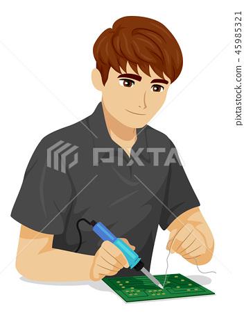 Teen Boy Electrical Engineer Illustration 45985321
