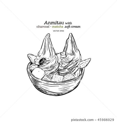 Matcha soft anmitsu, hand draw sketch vector. 45986029