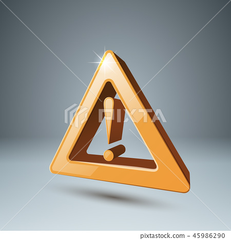 Yellow 3d icon attention, danger. 45986290
