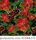 Christmas seamless pattern with poinsettia flowers, fir branches, and lettering 45988275