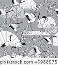 Monochrome Seamless Pattern with Cranes and Reeds 45988975