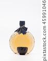 Korean wine in glass bottle on white background 45991046