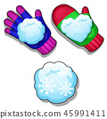 Set of winter knitted colorful gloves, snowballs of different shapes isolated on white background 45991411