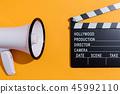 Movie slateboard clapper with megaphone 45992110