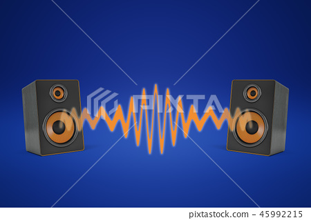 3d rendering of two music speakers near each other and sharing one orange sound wave between them. 45992215