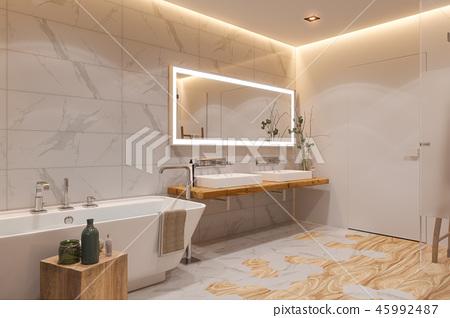 Interior design of a bathroom, 3d illustration in a Scandinavian style 45992487