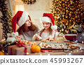 Merry Christmas and Happy Holidays. Mother and daughter cooking Christmas cookies. 45993267