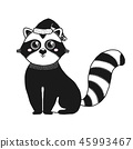 Sketch cute animal. Raccoon in a doodle style 45993467