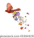 Northern Cardinal Flying with flowers  45994928