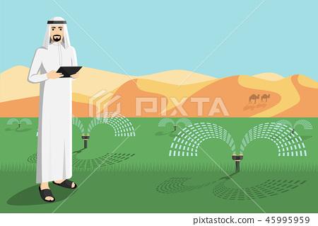 Arab farmer controls irrigation system.   45995959