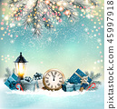 Merry Christmas Background with branches of tree 45997918