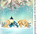Christmas Background with 2019 and gift boxes 45997920