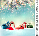 Christmas holiday background with colorful present 45997923