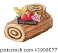 聖誕節蛋糕灌木donoelu手拉的水彩 45998077