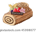 Christmas cake bush donoelu hand drawn watercolor 45998077