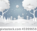 Winter season with snowflake and santa in town 45999656