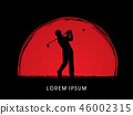 Man swinging golf , Golf players graphic vector 46002315