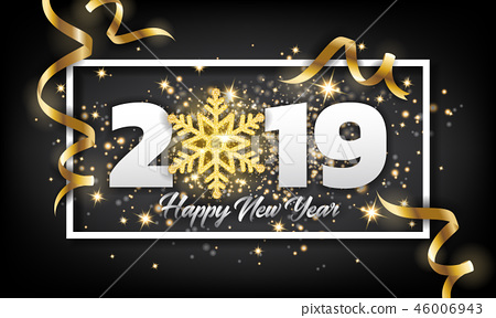 2019 Happy New Year Greeting Card Background 46006943