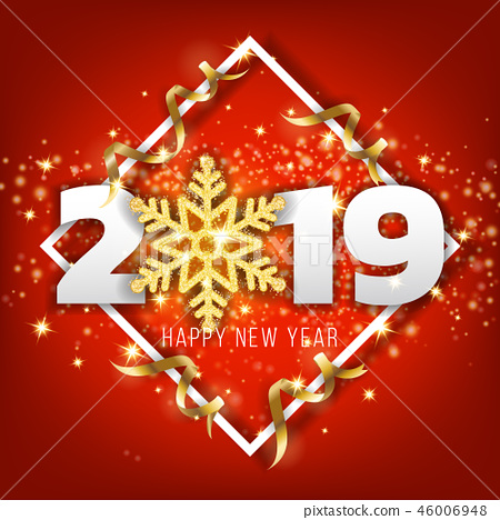 2019 Happy New Year Greeting Card Background 46006948