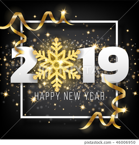 2019 Happy New Year Greeting Card Background 46006950