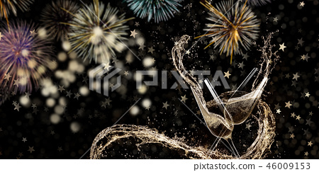 Glasses of champagne, New year 2019 celebration theme. 46009153