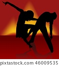 Silhouetted Couple Engaged in a Samba Dance 46009535