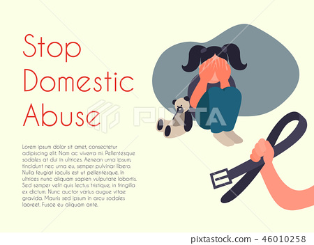 Stop domestic abuse cartoon illustration.  46010258
