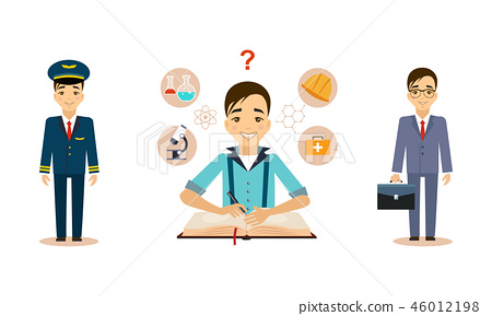Men of different professions set, pilot, scientist, businessman, working people vector Illustration 46012198