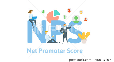 NPS, Net Promoter Score. Concept with keywords, letters and icons. Flat vector illustration on white 46013107